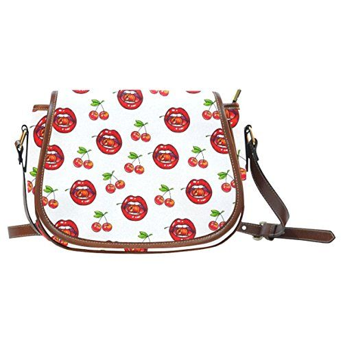 CASECOCO Red Cherry Lips Pink Women's Waterproof Messenger Crossbody Saddle Bag Purse ** See this great product.