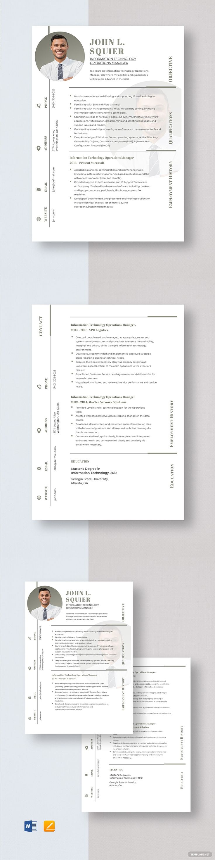 Information Technology Operations Manager Resume Template