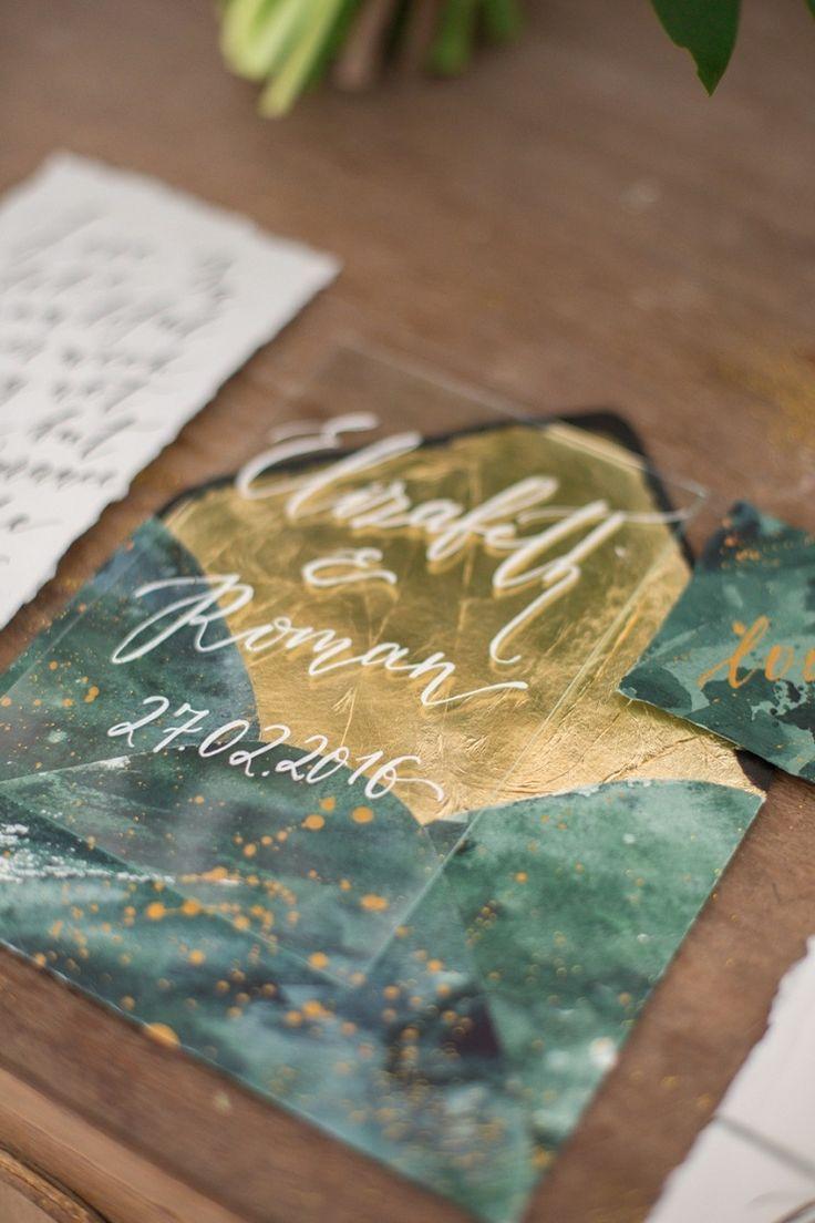 Emerald and gold wedding invitations | fabmood.com #wedding #weddingstyledshoot #weddingphotos #weddinginspiration #weddingphotography #fineartwedding #fairytalewedding