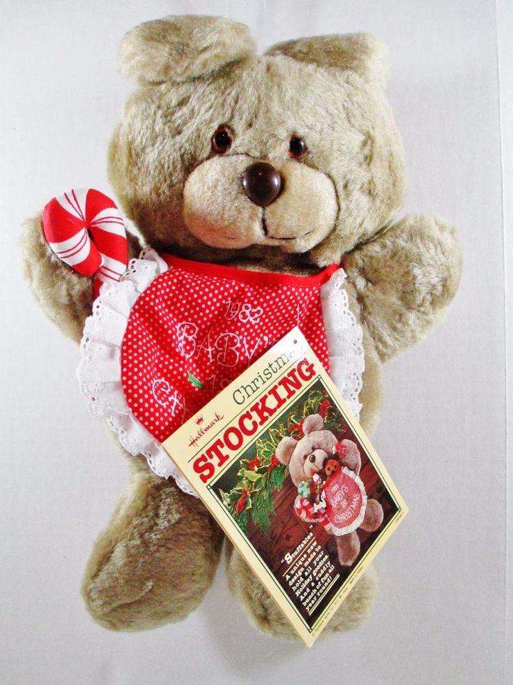 Teddy Bear Plush Christmas Stocking - Vintage 1981 Hallmark Stuffables  #Hallmark #TeddyBearPlush ..... Visit all of our online locations ..... (www.stores.eBay.com/variety-on-a-budget) ..... (www.amazon.com/shops/Variety-on-a-Budget) ..... (www.etsy.com/shop/VarietyonaBudget) ..... (www.bonanza.com/booths/VarietyonaBudget ) .....(www.facebook.com/VarietyonaBudgetOnlineShopping)