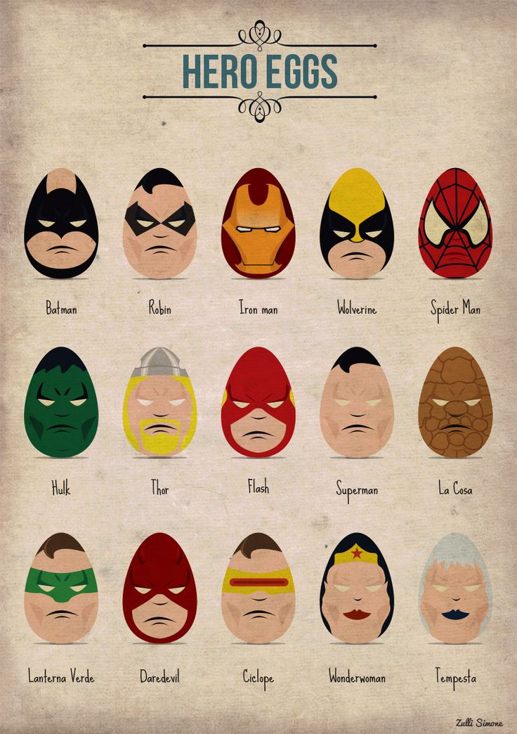 Awesome collection of Superhero Eggs :) | Digital art selected for the Daily Inspiration #1362