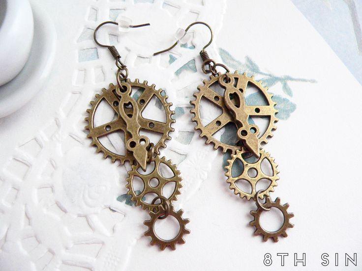 Antique Bronze Gear Earrings, Steampunk Earrings, Clockwork Earrings, Steampunk Gift, Steampunk Gear Earrings, Engineer Gift, Brass Gears by 8thSinCreations on Etsy https://www.etsy.com/uk/listing/221996810/antique-bronze-gear-earrings-steampunk
