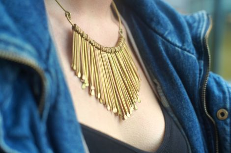 Instrument-looking necklace. Some jewellery inspiration? Fall fashion at Quest University Canada. Photo by Caitlin M-F
