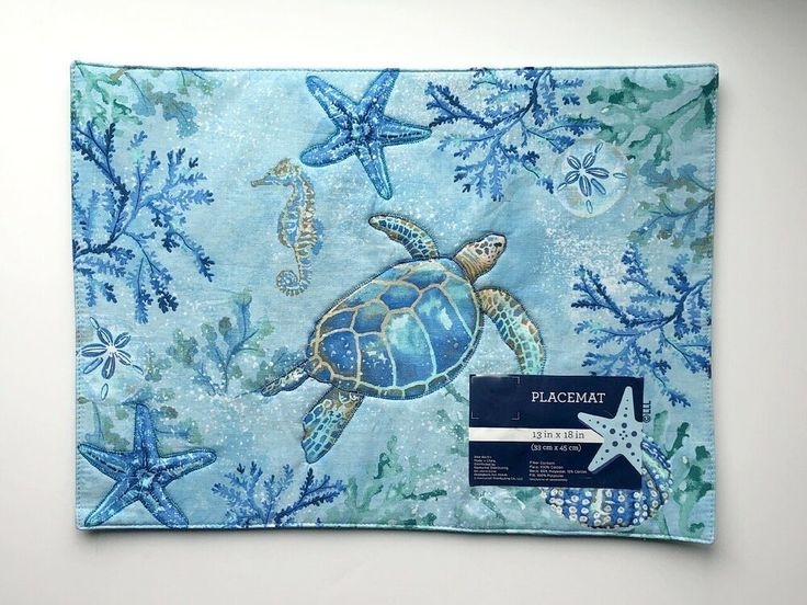 Sea Turtle Placemats Nautical Embroidered Cotton 13x18