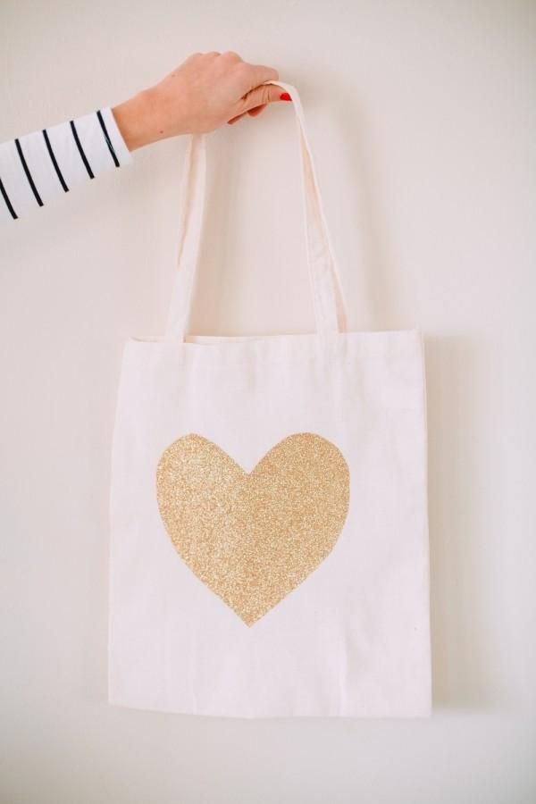 Glitter Heart Tote Bags