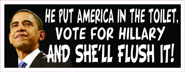 Anti Obama He Put America in The Toilet Vote for Hillary Bumper Sticker~I always stay out of the political stuff, but this is to funny not to share!