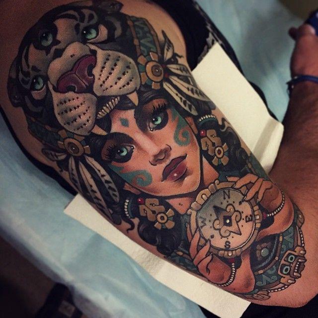 Shaman Woman Tattoo by Vitaly Morozov