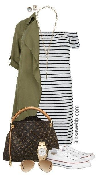 Plus Size gestreiftes Kleid Outfit {3 Möglichkeiten} – #gestreiftes #Kleid #Möglichkeiten #Outfit #Size