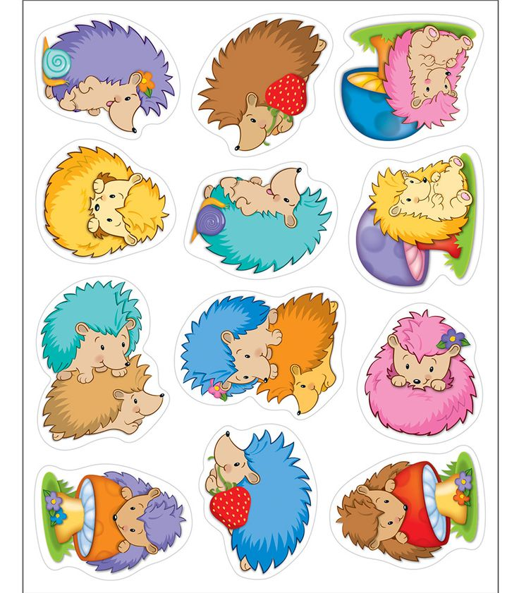 Happy Hedgehogs Shape Stickers