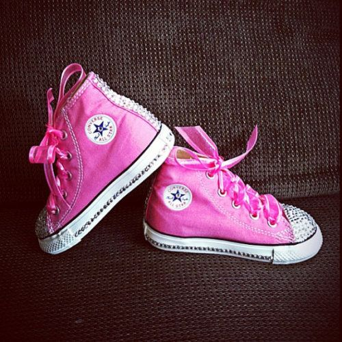 Pink blinged out converse