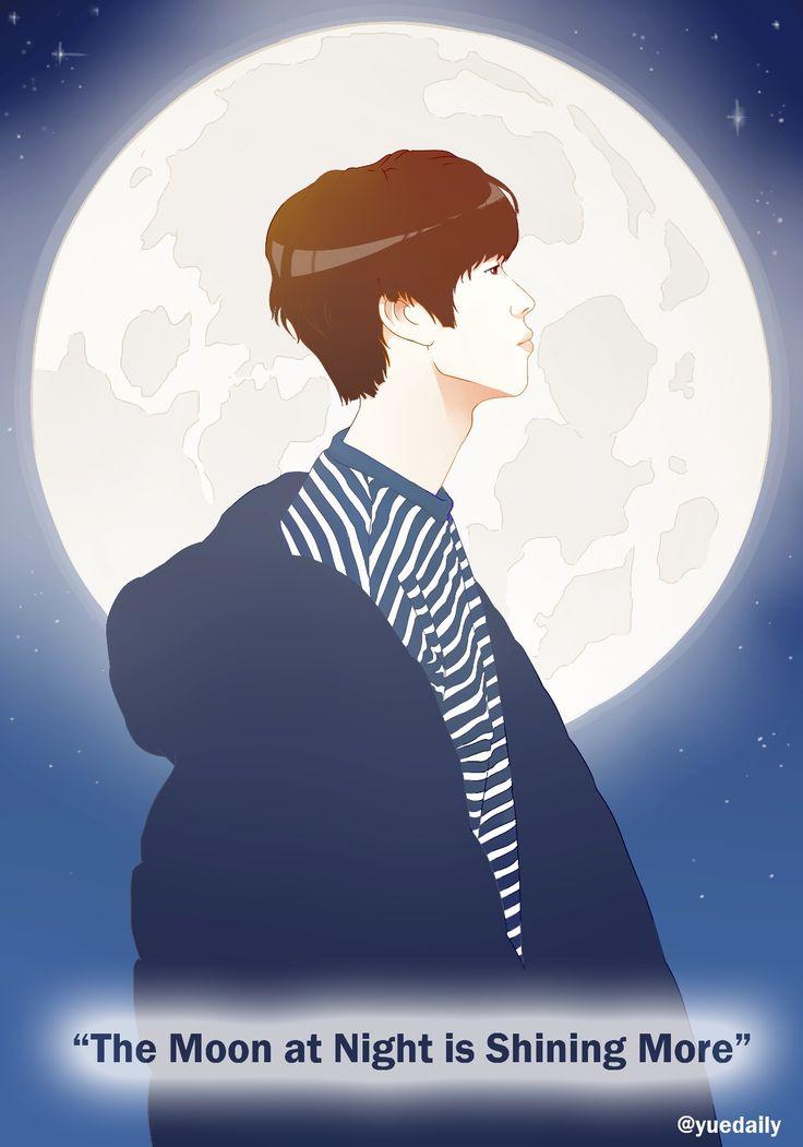 """오늘 밤 저 달이 더 빛나 (Oneul bam jeo dari deo bitna) """"The moon tonight shines brighter."""" #leedaeyeol #golden_child #goldenchildfanart #allday #daeyeol"""