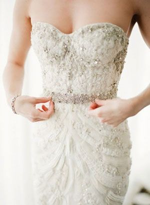 Monique Lhuillier Wedding Gown. I love all of the texture