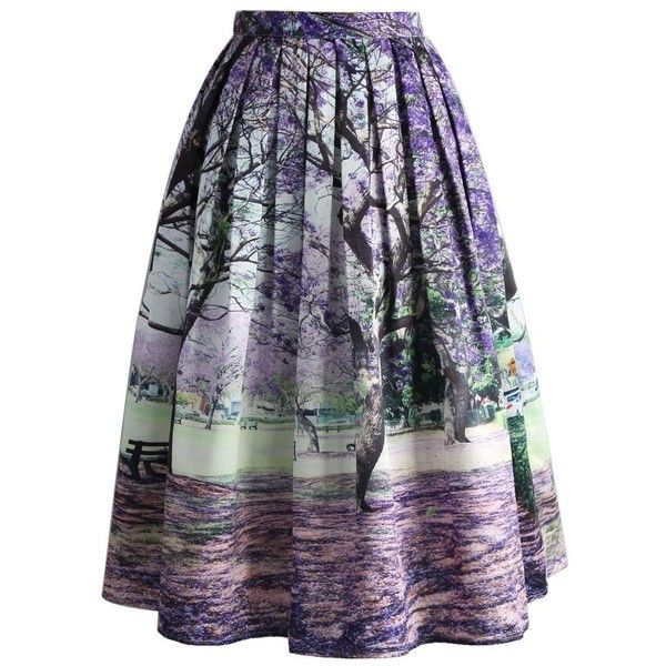 Chicwish Under the Jacaranda Printed Midi Skirt (210 MYR) ❤ liked on Polyvore featuring skirts, bottoms, multi, blue midi skirt, trumpet skirt, calf length skirts, blue skirt and flower skirt