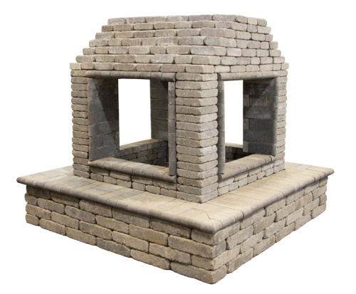 Open 4 sided outdoor fireplace make it pinterest for Open sided fireplace