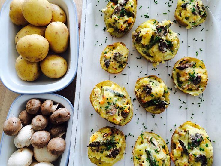 Mushroom and Asparagus Stuffed Baked Potatoes