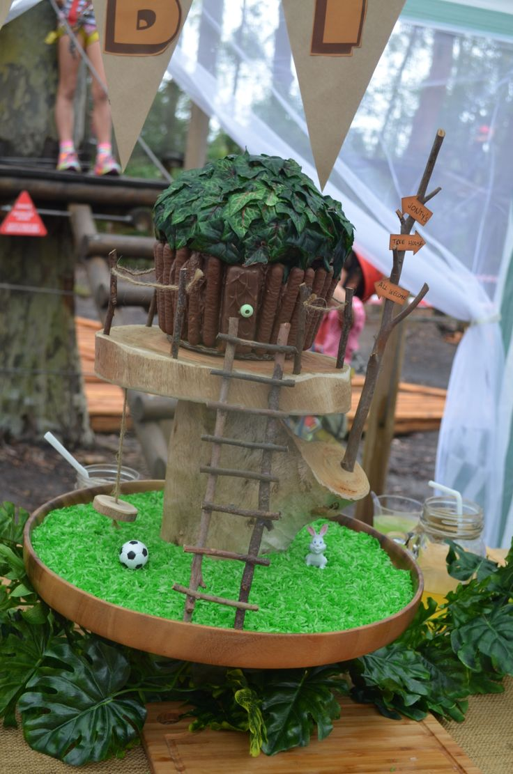 This was the tree house birthday cake I made for my son's 7th birthday. I use the large cup cake mold for the shape. I coloured rice green for the grass, and made the stand, ladder and swing. he loved it.