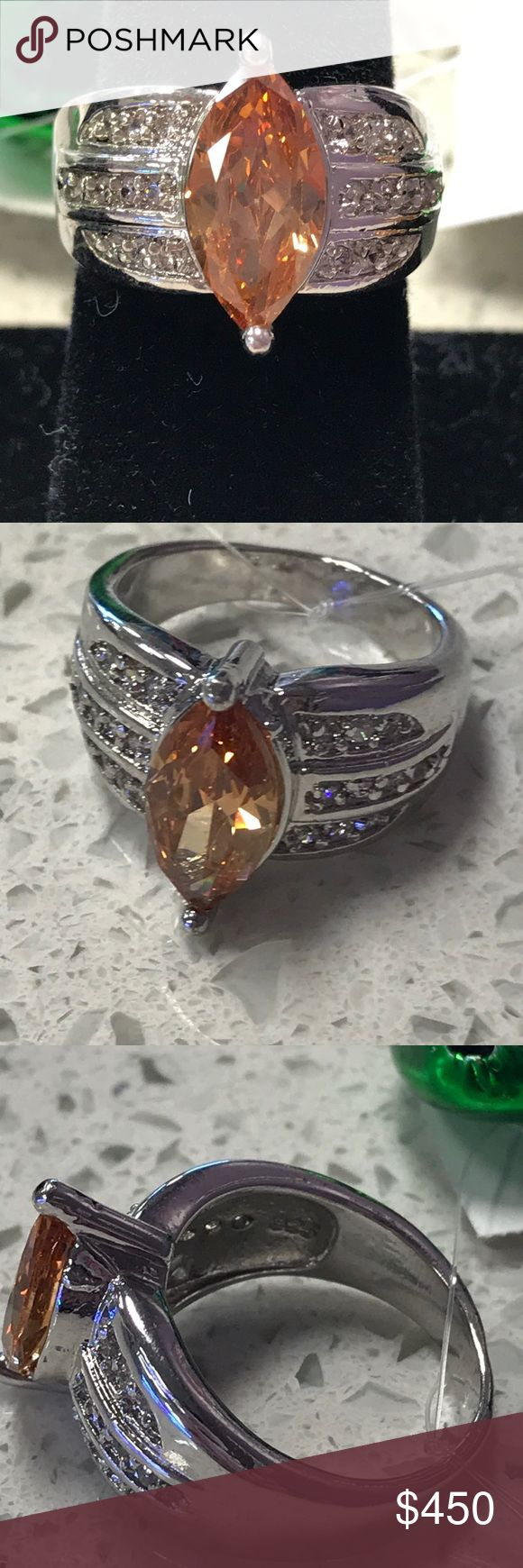 925 Sterling Silver Orange Citrine Size 8 Simply Gorgeous 925 Sterling Silver Orange Citrine with Genuine Diamond accents Size 8 Excellent Condition! Jewelry Rings