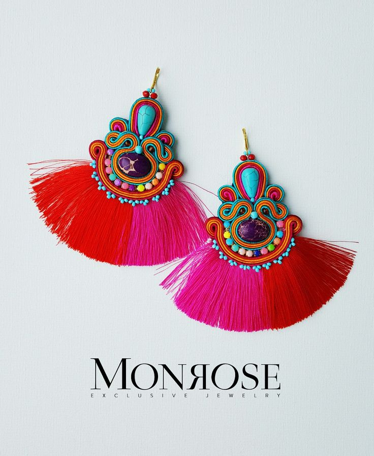 Colorfull Gypsy inspired summer soutache earrings