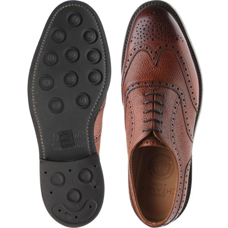 Cheaney shoes   Cheaney of England   Hythe brogue in Mahogany Grain at Herring Shoes