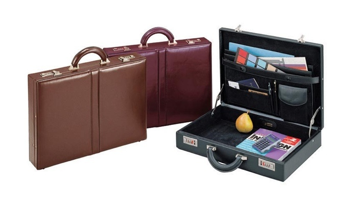 "Winn ""The Classic"" Leather Attache  This top grain leather attache is the ultimate in quality and styling."