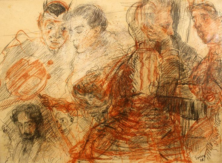 James Ensor (1860-1949) Zelfportret en figuren, 1886 Self-portrait and figures Mu.ZEE