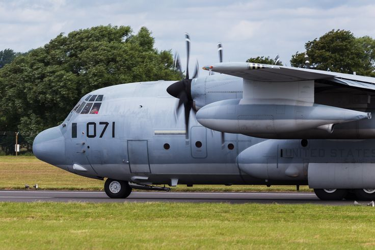 KC-130J Hercules slowing on the runway - Pictured on day one (on Friday 8th July) of the 2016 Royal International Air Tattoo at RAF Fairford in Gloucestershire, the largest military airshow in the world.
