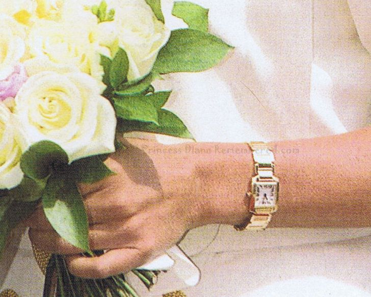 Diana's other favourite watch was her gold Cartier 'Tank Francaise', which she wore on one of her last public engagements to a temple in June 1997.
