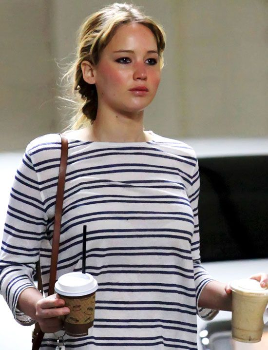 """Jennifer Lawrence Wears Makeup on a Coffee Run on March 23, 2012 