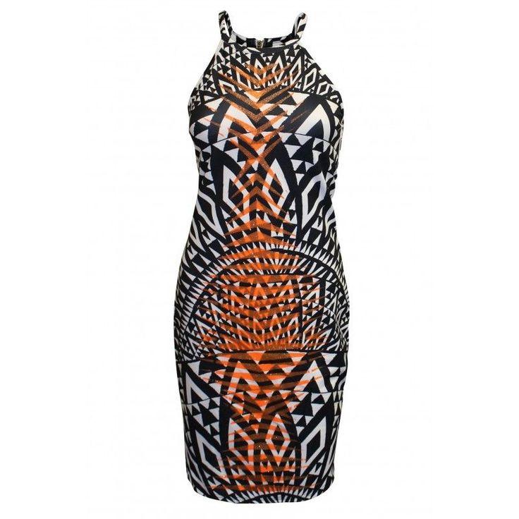 NEW River Island Black Orange White Animal Print Zebra Halterneck Bodycon Dress