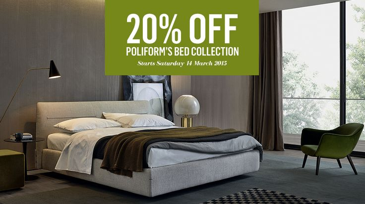 Save 20% on Poliform 's Bed Collection including beds, bedside tables, chest of drawers and mattresses. Starts Saturday 14 March until Sunday 12 April 2015. View the entire collection of Poliform beds available in-store and online  www.poliform.com.au