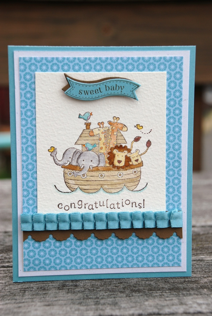 Baby card using Stampin' Up's 'Two by Two' an d 'Itty Bitty Banners' stamp sets. It is water colored with Stampin' Up! inks on watercolor paper.