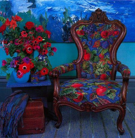 Kaffe Fassett needlepoint chair.  Beautiful!
