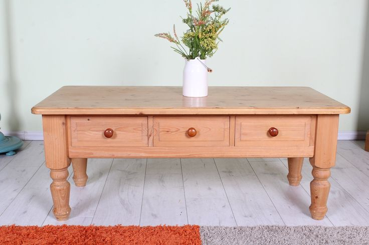 £120 Waxed solid pine coffee table with 3 drawers, all tongue & groove solid throughout - see all our quality used pine furniture on the website - http://www.sussexpineonline.co.uk/en/