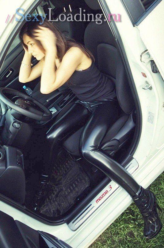 Wet Leather Leggings, Black Leather Leggings, Hot Girl -5375