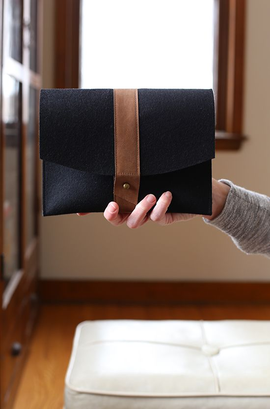 Felt Clutch, project from Beyond Cotton book, sewn by Anna Graham
