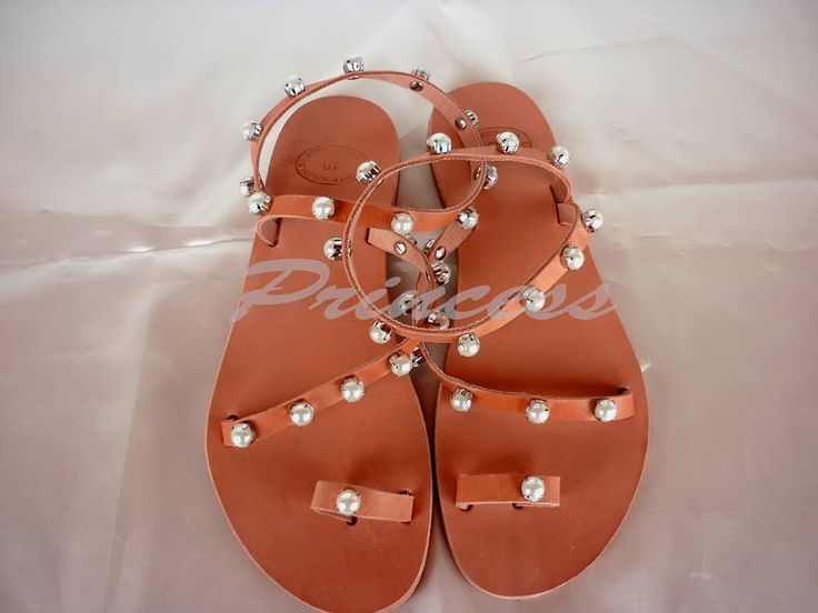 #princess #sandals #ancient #greek #pearls #decorated #pink #handmade #bridal Greek sandals decorated with crystals