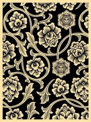Black Flower Vine Screen Print ~ Obey Giant, Shepard Fairey