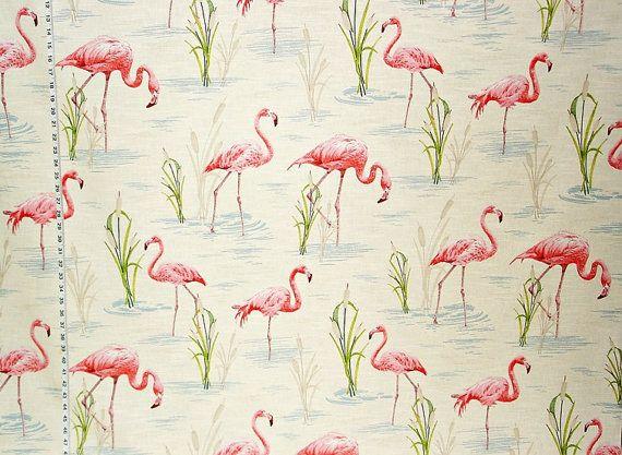 Flamingo fabric tropical fabric pink flamingo by BrickHouseFabrics
