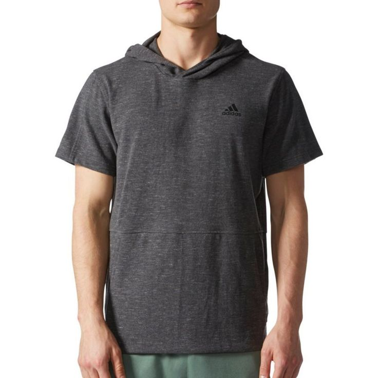 adidas Men's Essentials Heathered Pique Short Sleeve Hoodie, Size: Medium, Dgh