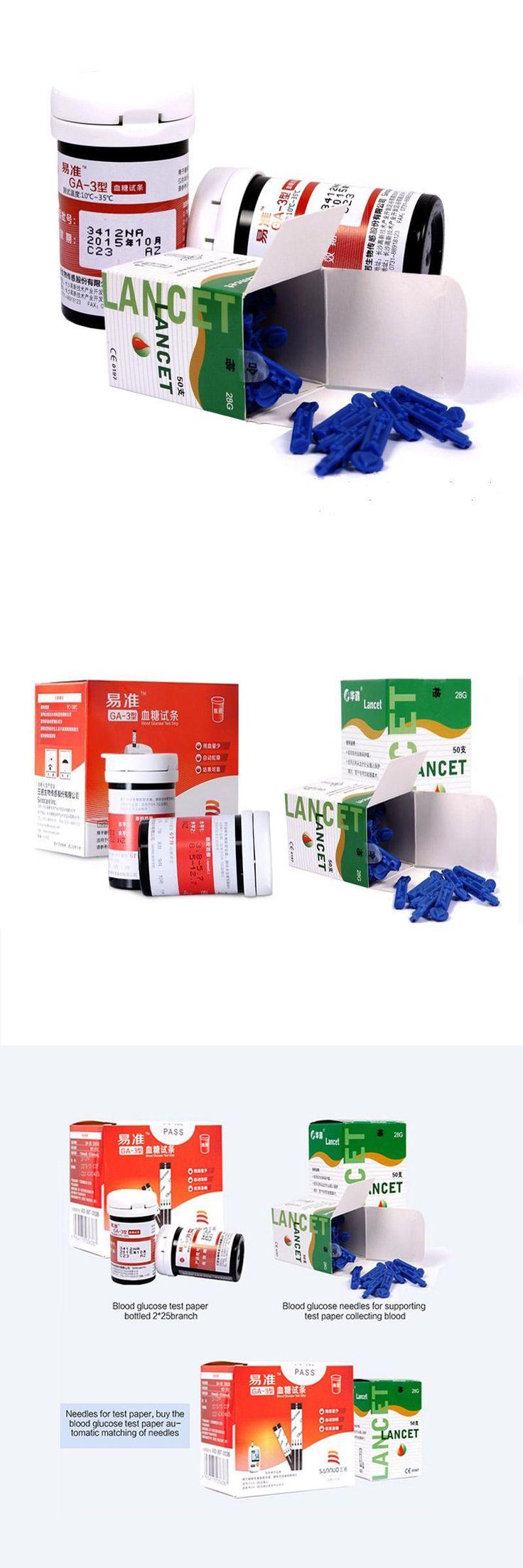 [Visit to Buy] Sannuo 100 pcs blood Glucose test strips+100pcs lancets needles for GA-3 blood Glucosemeter sugar monitor #Advertisement