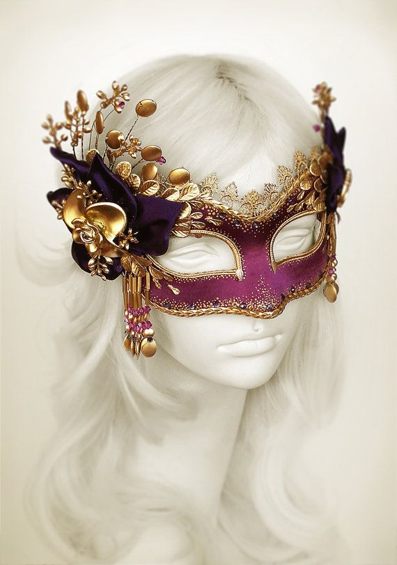 Purple & Gold Masquerade Mask With Gold Embellishments by SOFFITTA