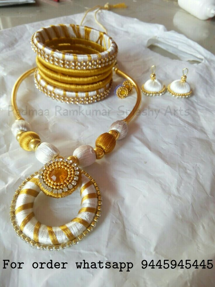 White gold silk thread necklace set with bangles and earrings pp 550