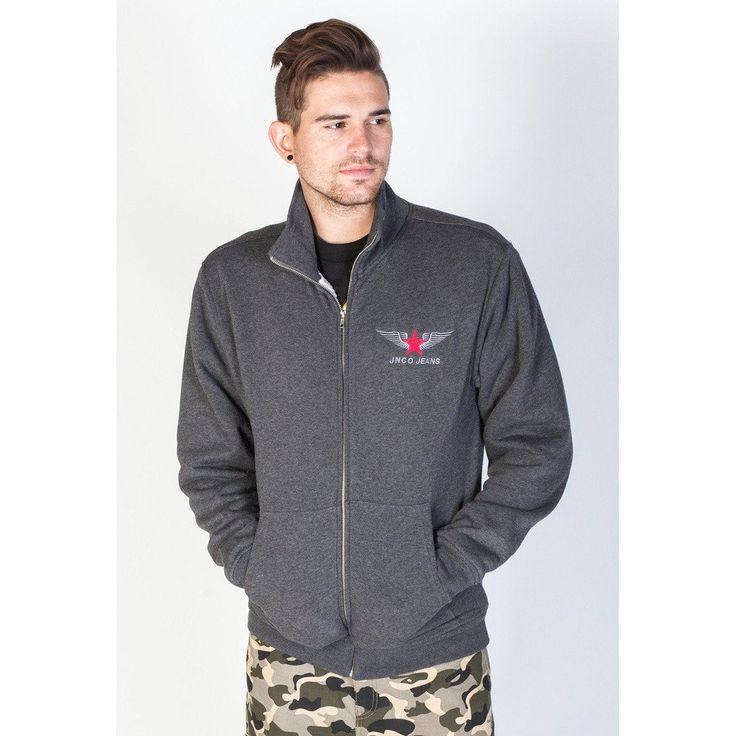 JNCO Official Zip Up Fleece Jacket- Charcoal