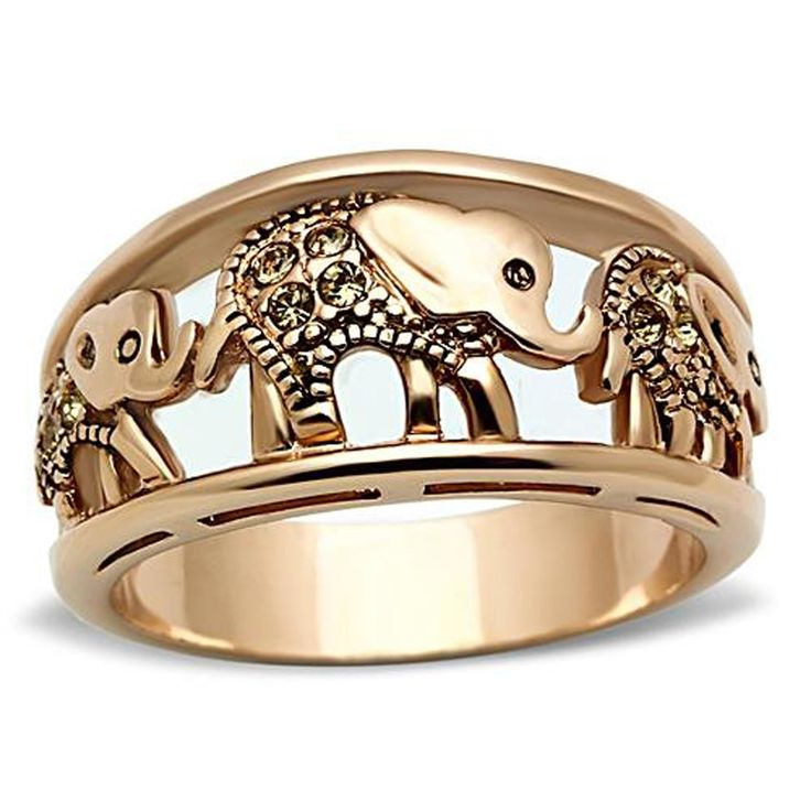 Stainless Steel Ring Elephant Caravan Crystal Citrine Rose Gold - Plated Women Size 5 - 10 SPJ ( 5 ):