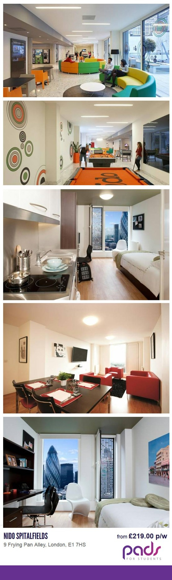 Nido Spitalfields amazing student residence, located in fashionable and trendy Spitalfields @ Pads for Students #London #student #londonFlats