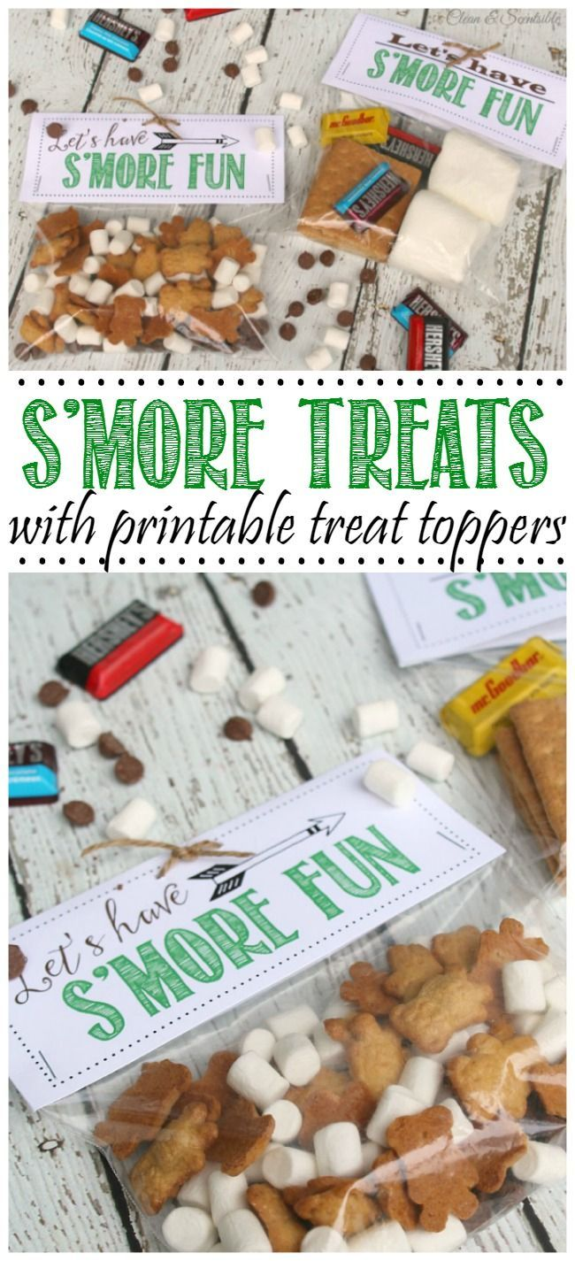 S'more treat bags with printable treat toppers. Makes a fun camping or party treat!