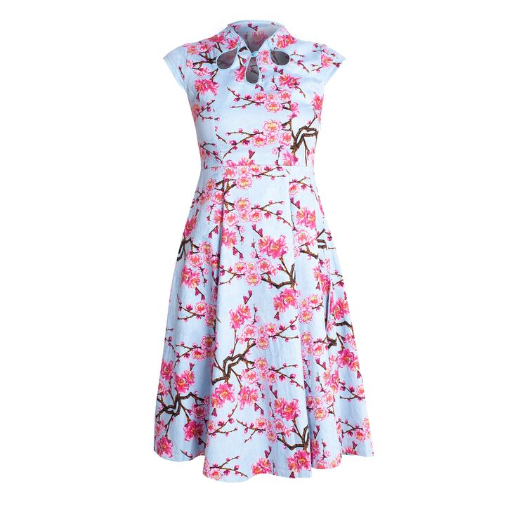 A gorgeous girly, oriental style dress in light blue which is beautifully printed with bright pink cherry blossom. An added detail is three keyhole cut outs around the neck met by a stand collar. The dress is designed to come in a little at the waist and therefore giving a cinched in effect. Wear with some pink or nude heels and an up do to complete the outfit.  Length measured from high shoulder point to hem
