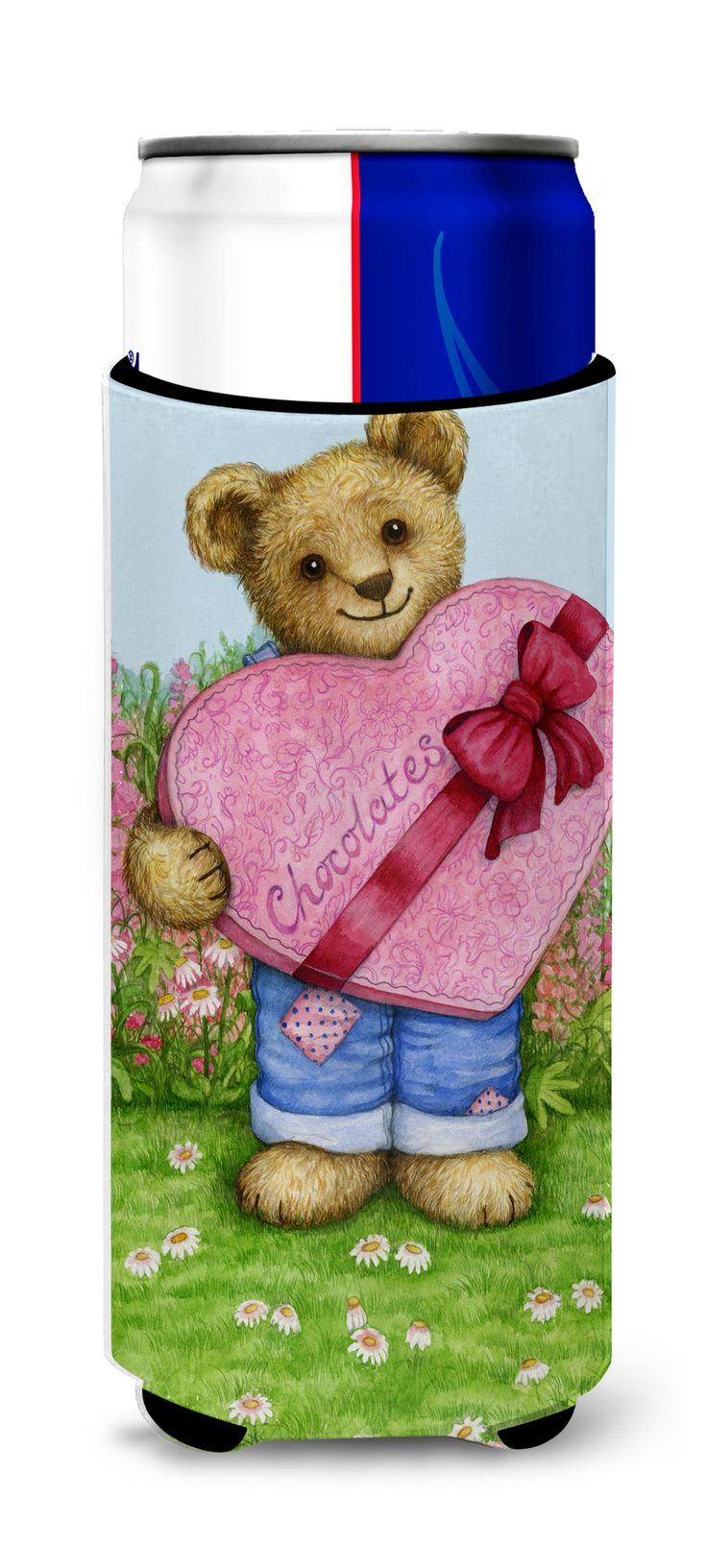 Valentine Teddy Bear with Chocolates Ultra Beverage Insulators for slim cans CDCO318AMUK
