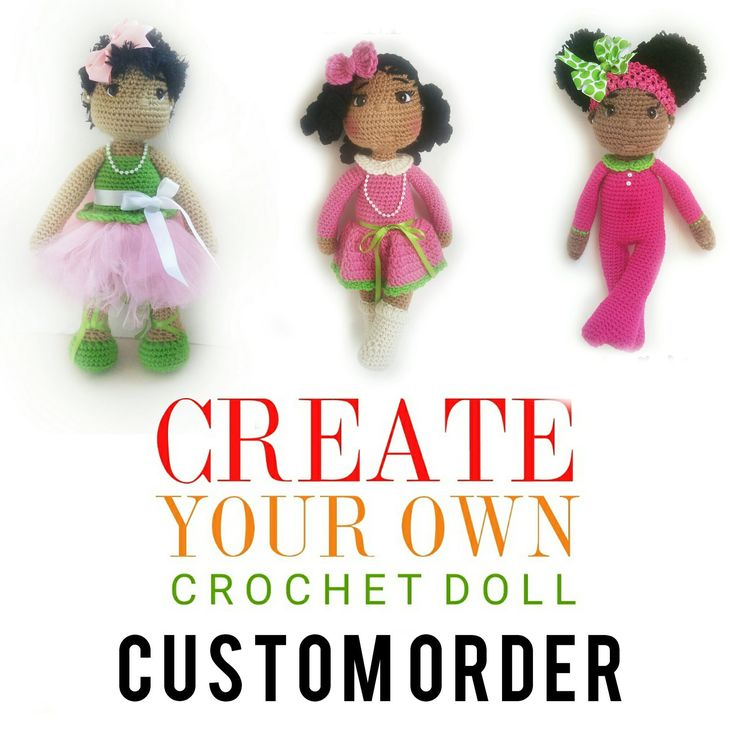 "18"" Custom Crochet Doll, Natural Hair, African American, Amigurumi by OliviaandMeBoutique on Etsy"