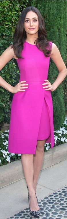 Who made Emmy Rossum's pink dress, crystal black pumps, handbag, and jewelry that she wore in Beverly Hills on September 28, 2014